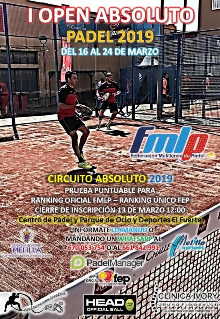 I OPEN ABSOLUTO PADEL 2019 - Melilla