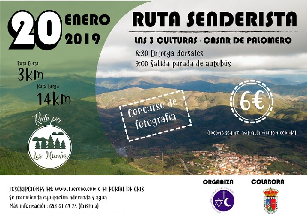 RUTA SENDERISTA LAS 3 CULTURAS - CASAR DE PALOMERO - Cáceres - 2019
