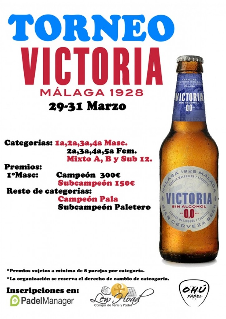 TORNEO PADEL CERVEZAS VICTORIA 0,0 - Málaga - 2019