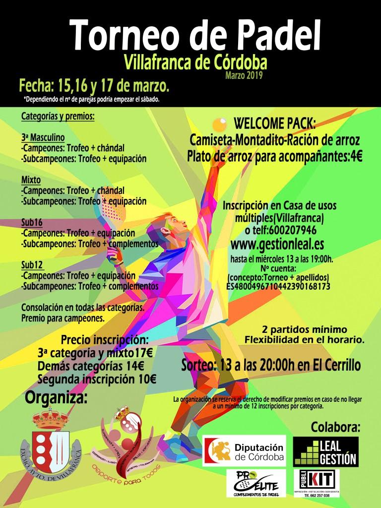 Torneo Pádel Villafranca de Córdoba Marzo 2019