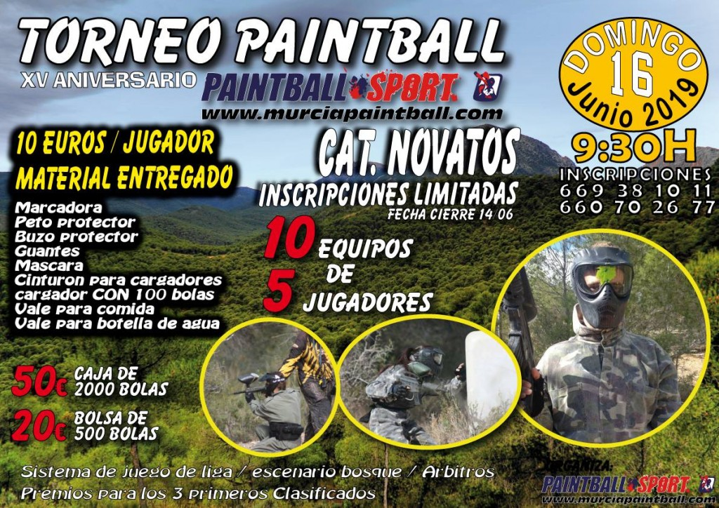 Torneo PAINTBALL Para Novatos XV Aniversario Pbs TOTANA - Murcia - 2019
